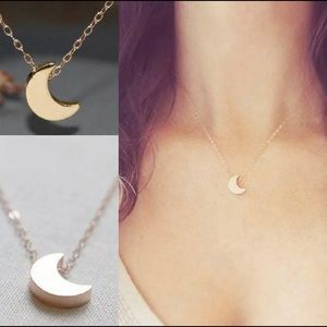 Jewelry - (FINAL) Silver & Gold Small Crescent Moon Necklace